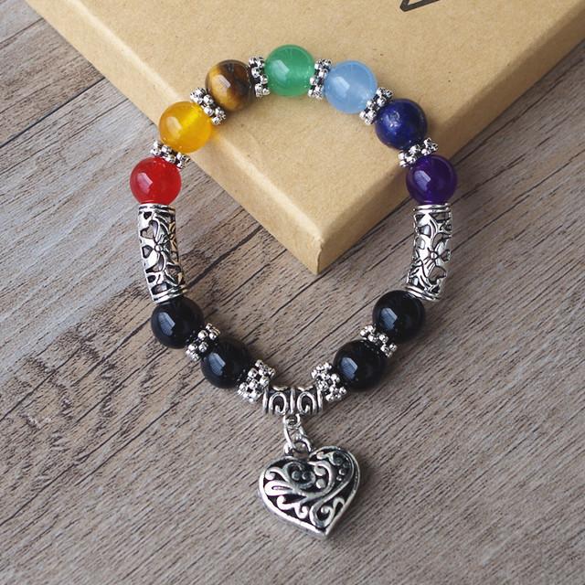 Heart Charm Chakra Bracelet