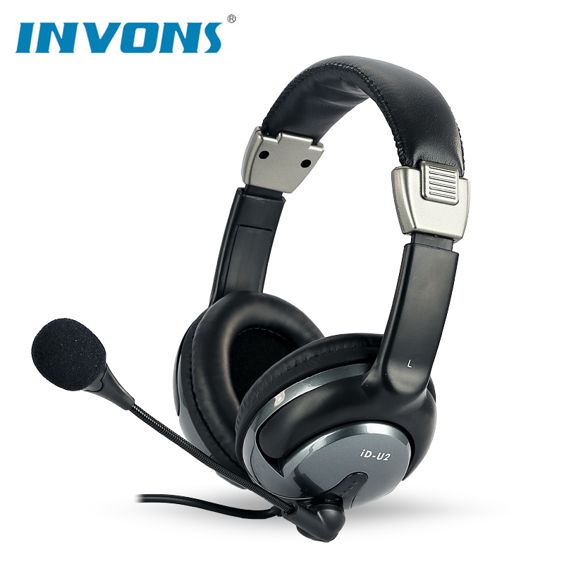 invons ID-U2 Wired Gaming Headset Deep Bass Game Earphone Computer HiFi headphones with microphone for computer pc Laptop Gamer super bass gaming headphones with light big over ear led headphone usb with microphone phone wired game headset for computer pc