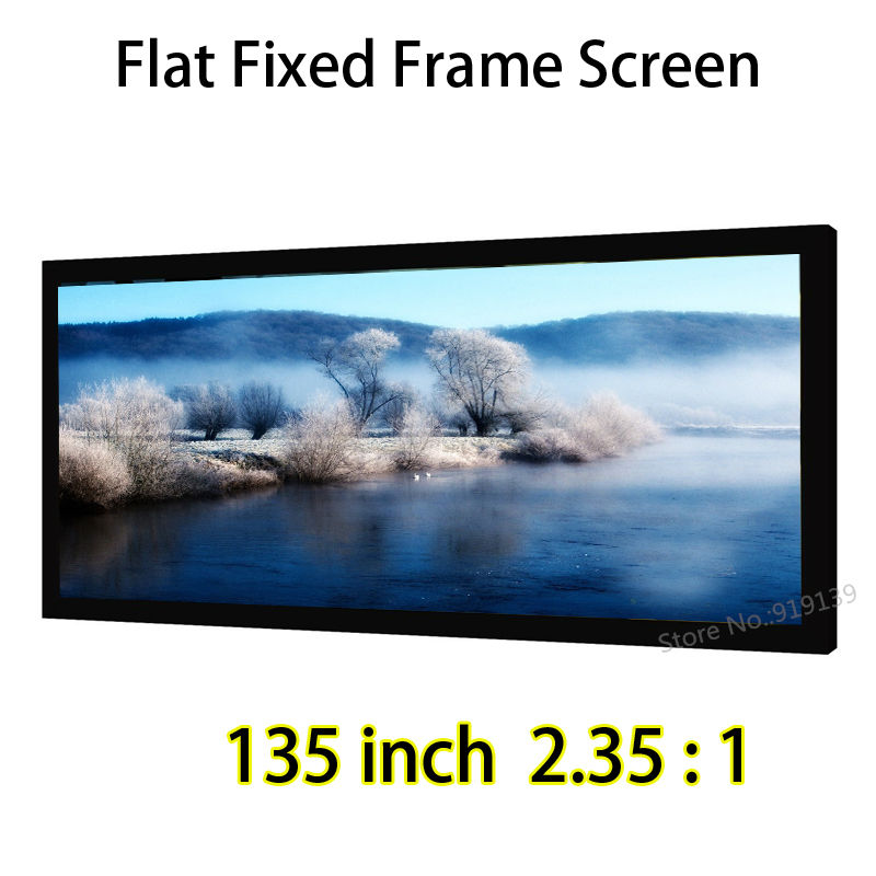 Outstanding Picture Quality Projection Screen 135inch 2.35x1 Fixed Frame Wall Mount Screens Support 4K Projector low price 92 inch flat fixed projector screen diy 4 black velevt frames 16 9 format projection for cinema theater office room