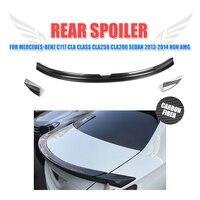 3PCS Set Carbon Fiber Rear Trunk Boot Spoiler Wing For Mercedes Benz C117 CLA Class CLA250