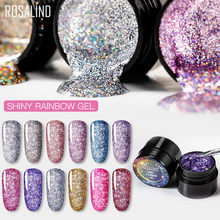 Rosalind 5 Ml Rainbow Hologram Gel Nail Polish Neon Shimmer Bersinar Glitter Rendam Off UV LED Gel Panjang tahan Lama Pernis Lacquer(China)