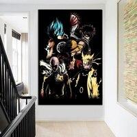 Анимационные персонажи мультфильмов плакат Гоку Наруто Луффи холст картины стены искусства картина для гостиной спальни домашний декор