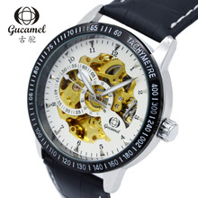 Gucamel Роскошные Мужчины Номер Дисплей механические Черный Циферблат Кожаный Ремешок Мужчина Случайно Часы