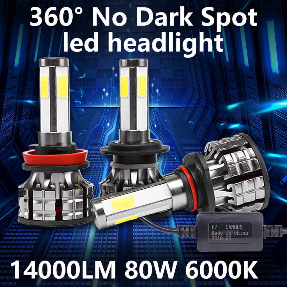 Inlong 2Pcs 4 Sides H7 Car LED Headlight No Error H4 Led Canbus Headlmp Bulbs H11 H8 H9 9005 9006 80W Auto Fog Lights DC 12V 24V