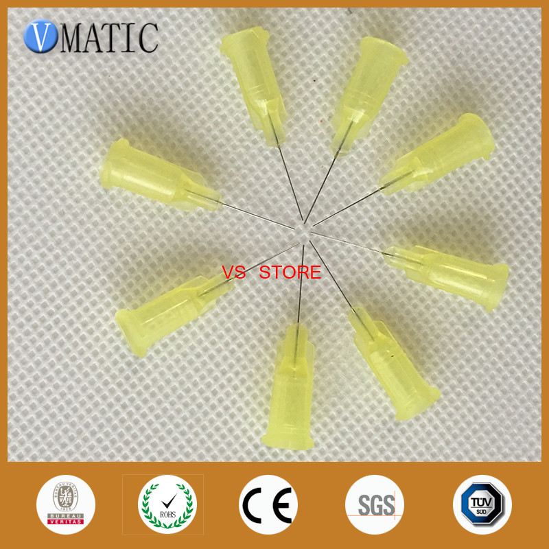 32G Yellow 0.5 Tubing Length TE Premier Dispensing Tips Precision passivated S.S. Dispense Tip with PP Safetylok hub