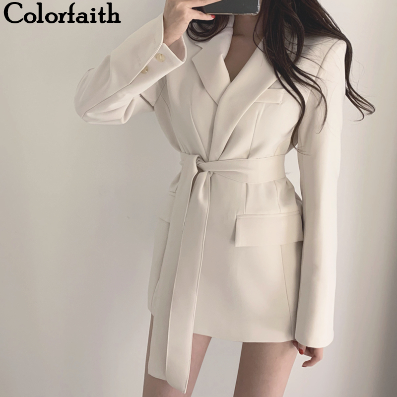 Colorfaith New 2019 Autumn Winter Women Jackets Office Ladies Lace Up Notched Formal Outwear Elegant  White Black Tops JK7040