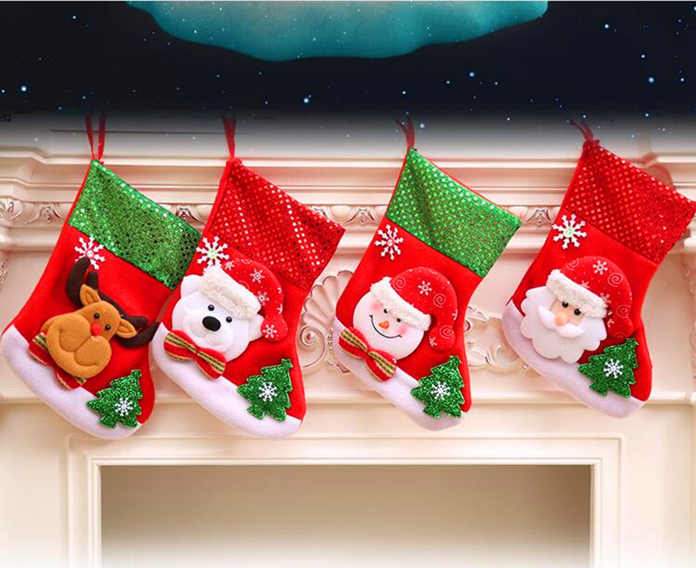 Hot Sale Christmas Stockings Santa Claus Sequins Stockings Xmas ...