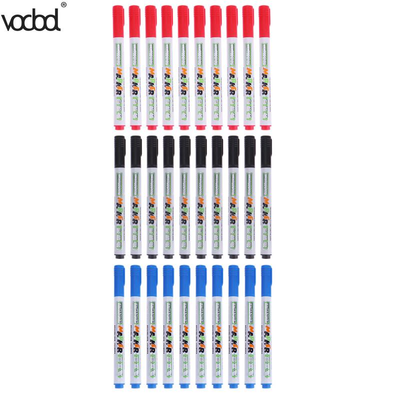 где купить 10pcs/lot 3 Colors Quick-Drying Erasable Whiteboard Marker Pens DIY Marker Pen for Kids Drawing School Office Supplies дешево