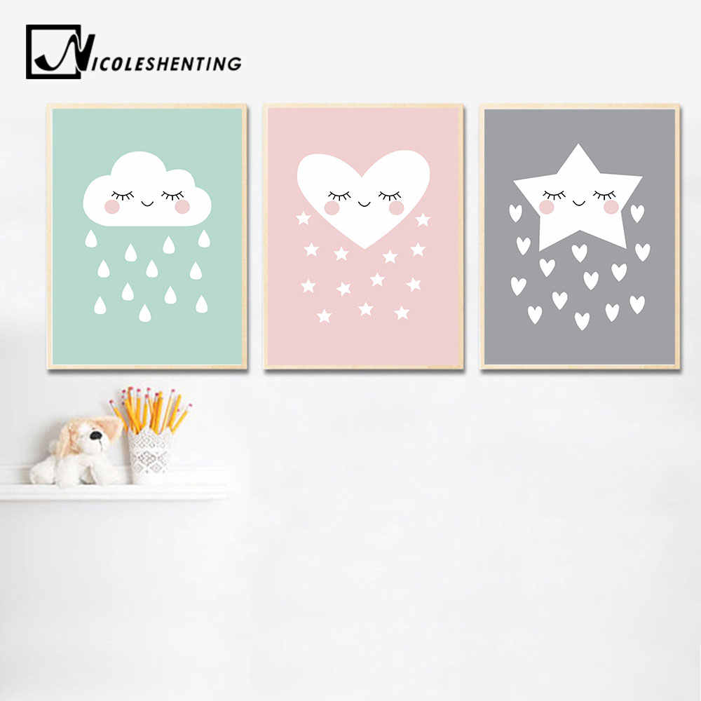 Cute Smile Star Cloud Baby Nursery Wall Art Canvas Posters Prints Cartoon Painting Nordic Kids Decoration Picture Bedroom Decor