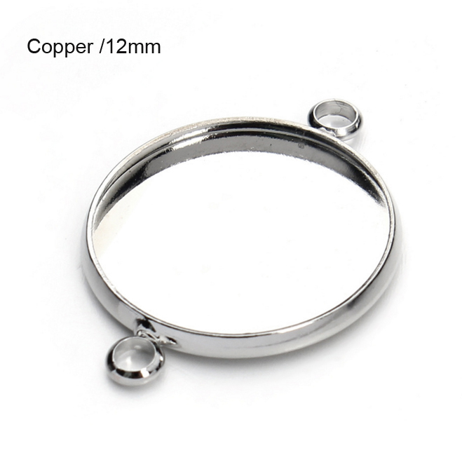 Silver Copper Cabochon Setting Connectors fits 12mm Cab 20pcs/lot cabochon Connectors bezel tray