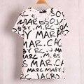 2017 Новый Летний Модный Бренд Женщин Письма Печатаются майка с коротким рукавом повседневная хлопок топы футболка футболка женщины clothing blusas