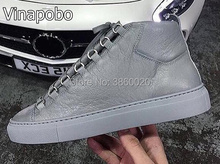 2018 Top quality mens shoes casual lace up high top flat grey black white blue colors Luxury brand men for wholesa