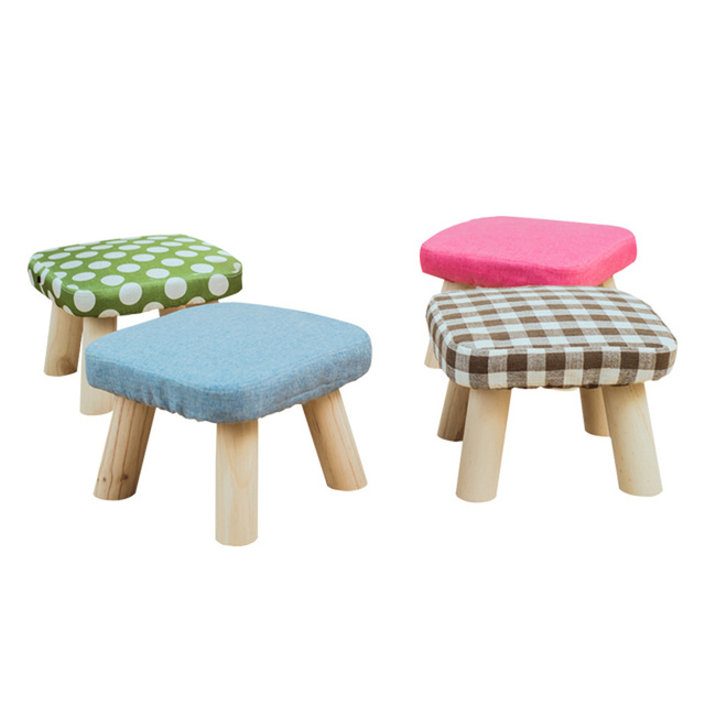 Solid Wooden Simple Stool Fashionable Square Stools Living Room Tea Table Household Creative Shoe Changing Foot Kids Chair