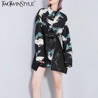 TWOTWINSTYLE Animal Print Kimono Lange Mouw Blouses Shirts Vrouwen Herfst 2017 Grote Size Losse Vrouwelijke Blouse Top Casual Kleding