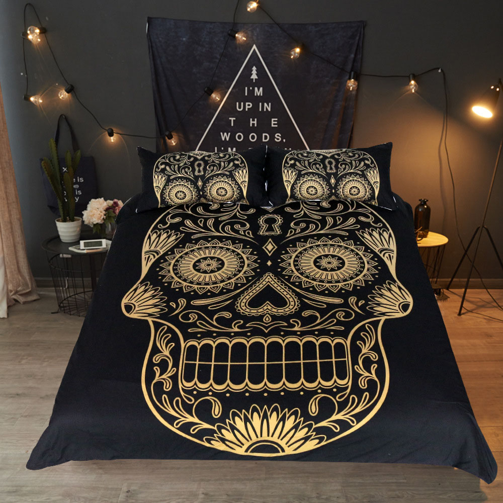 Skull Bedding Clothes 4pcs Bed Dovet Cover Sets Boho Design Ethnic Bohemia Exotic Bedding Set