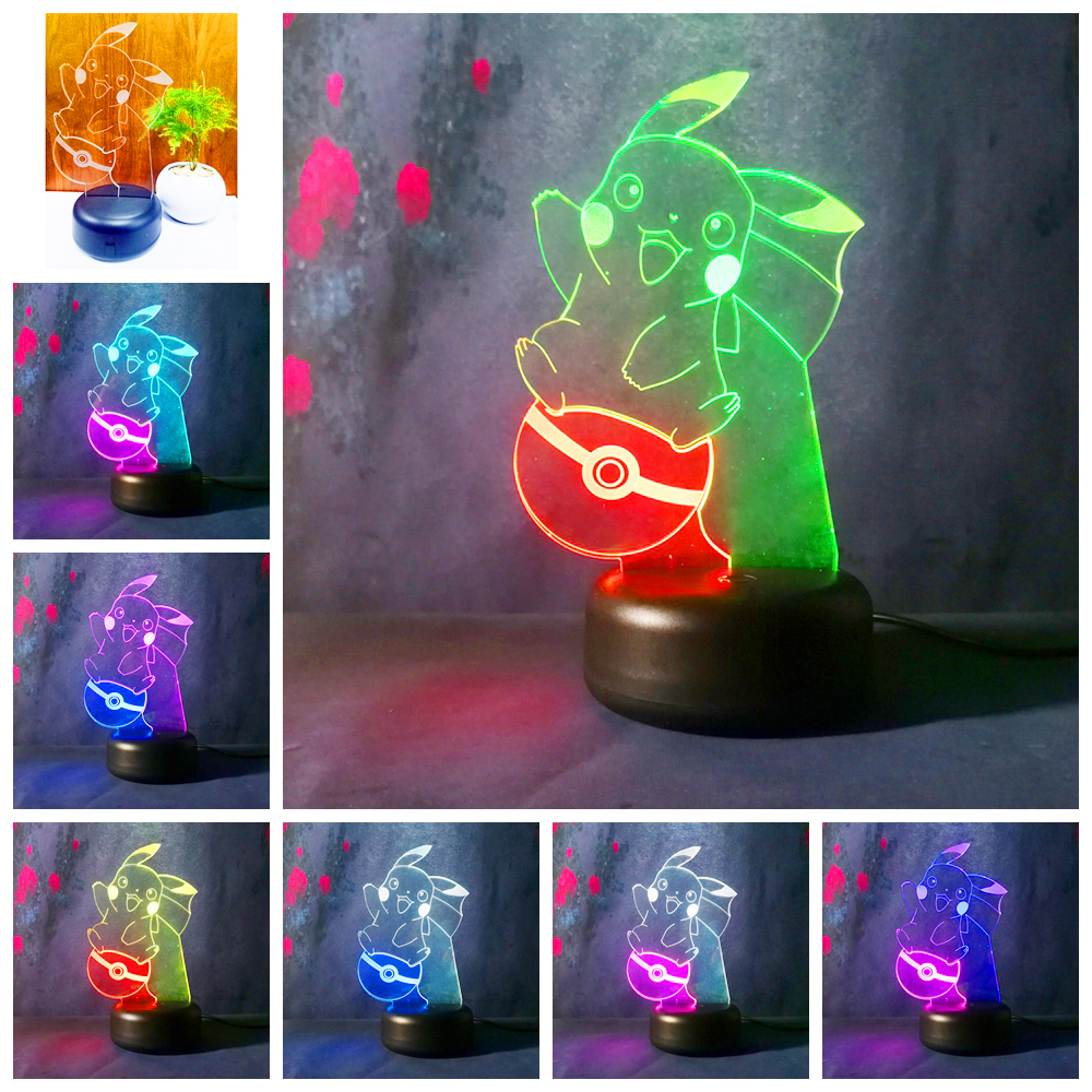 3D LED Pocket Monsters Pikachu Pokemon Go Action Figure Night Lights Table Lamp suprise christmas Child Kids Baby bed Toys Gifts 144pcs 72pcs kawaii pikachu action figure kids toys for children birthday christmas gifts 2 3 cm