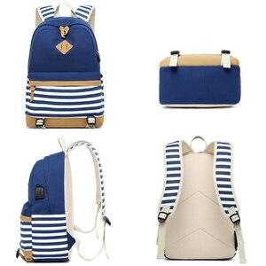 Image 3 - Conjunto de 2 mochilas escolares con USB para adolescentes y niñas, morral escolar con USB para ordenador portátil, morral de viaje para mujer, bolsa para teléfono, mochila femenina con estampado a rayas