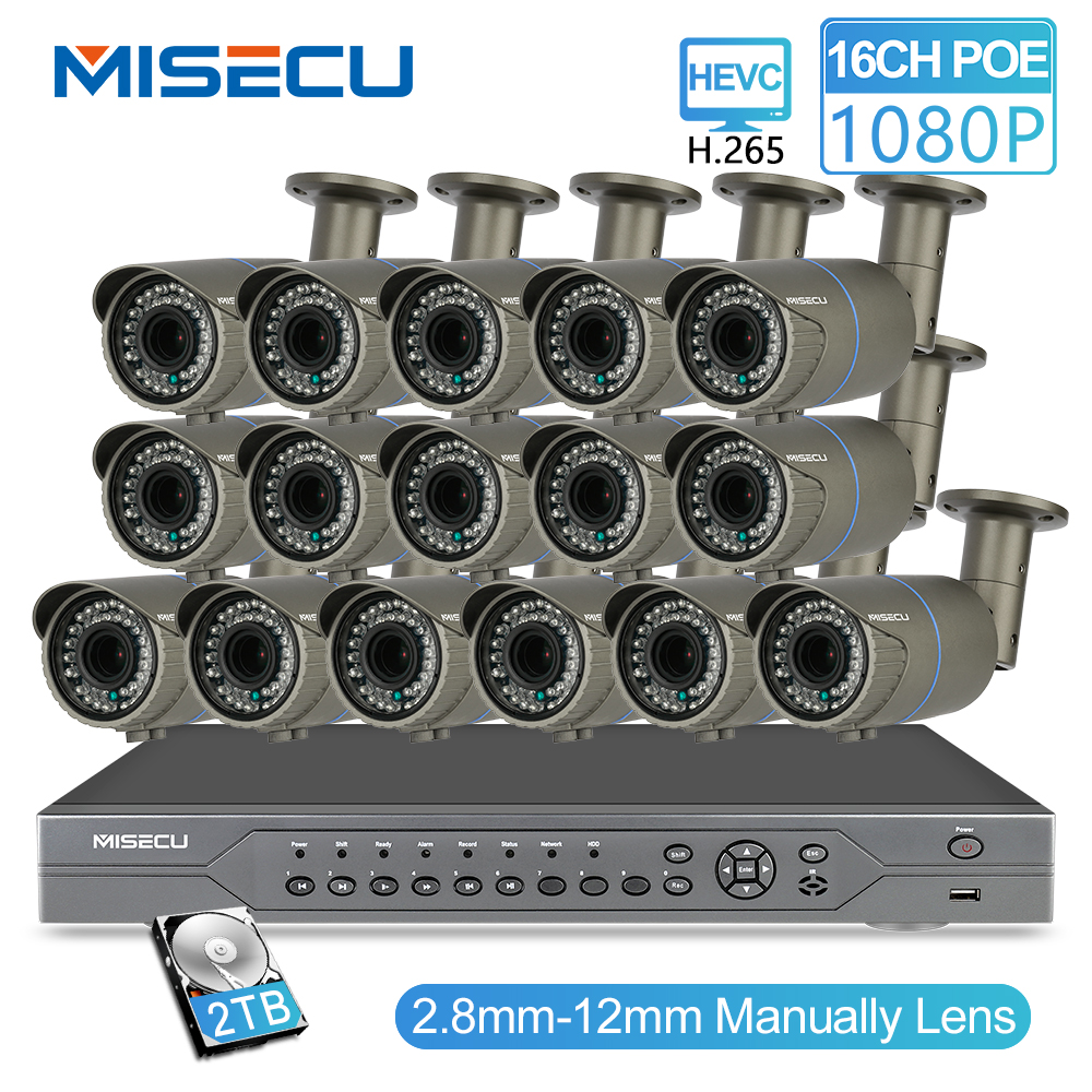 MISECU H.265 16CH POE KIT 1080P NVR Réel POE 48V 2MP 16 pièces POE 2.8-12mm Zoom Caméra module Nuit Étanche P2P système de vidéosurveillance IP