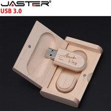 JASTER USB 3.0 (10 PCS free LOGO) wooden high speed usb+box usb flash drive memory stick 4GB 8GB 16GB 32GB 64GB wedding gift