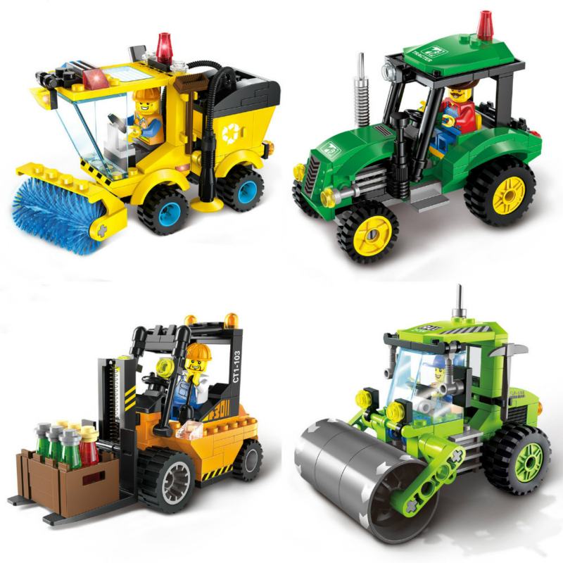 City Series Forklift Truck Tractor Sweeper Truck Construction Road Roller Building Block Kids Toy Compatible with Legoe City