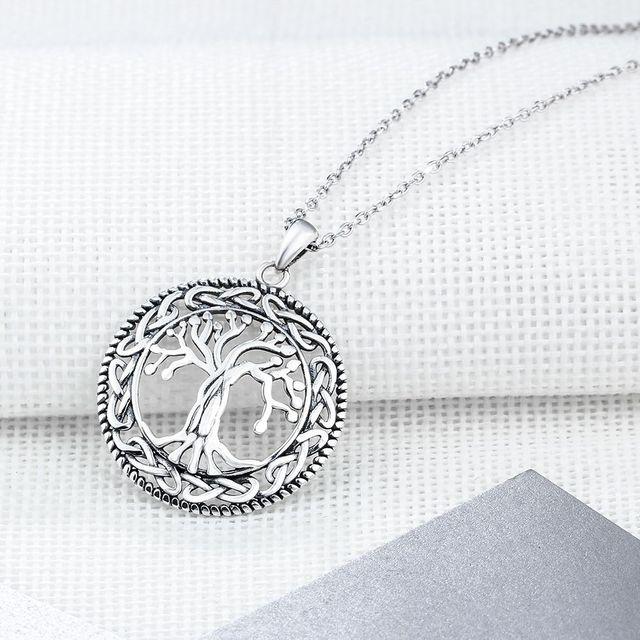 Tree of Life Round Pendant Necklace Women Retro Jewelry Gift 4