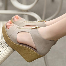 2018 Women Wedge Sandals Summer Slippers Women Shoes Slides Platform Wedges Vintage High Heel Sandals Zippers Sandalias Mujer(China)