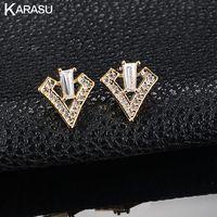 KARASU Fashion Hollow Triangle full Tiny Cubic Zirconia Gold-color Shield Design Stud Earrings for Women Girls Piercing Jewelry
