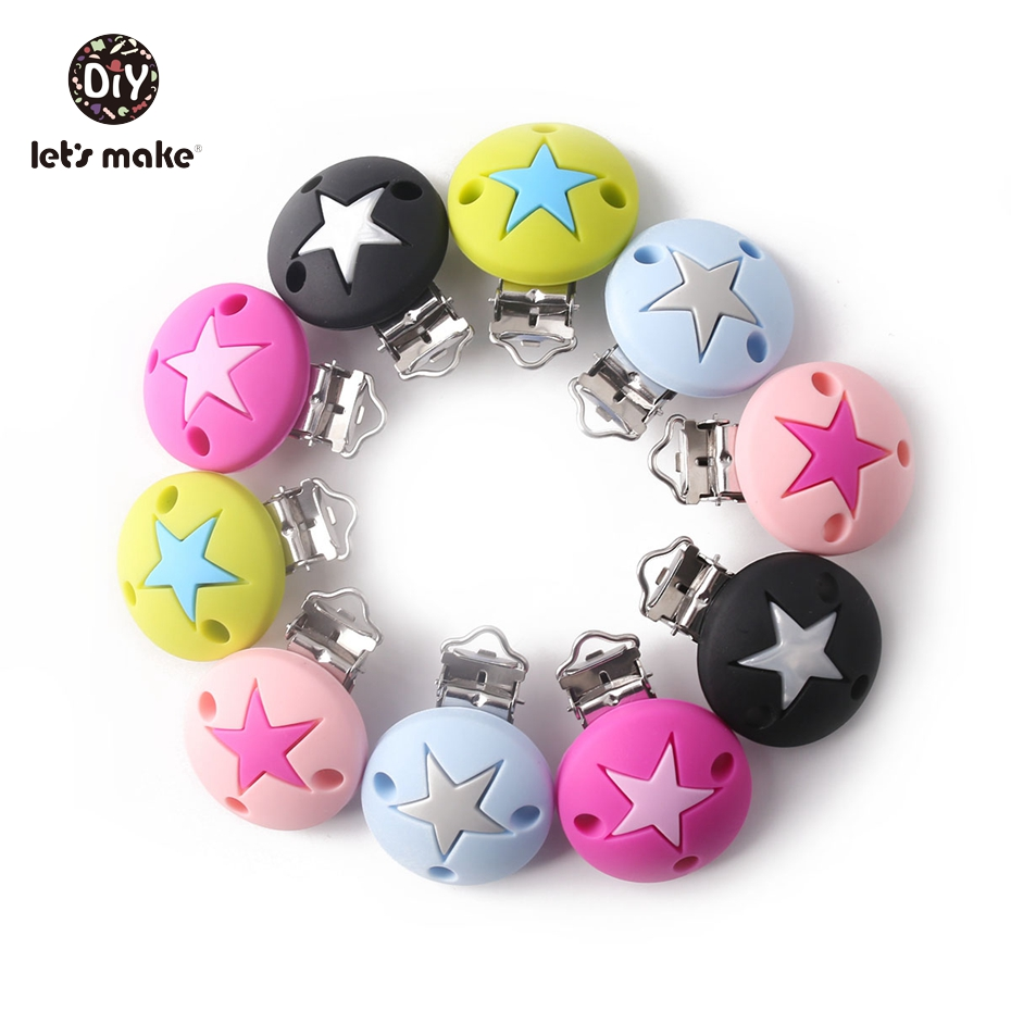 Let's Make 1pc Silicone Teether Pacifier Clips Pearl Silicone Beads Round Star Dummy Clips Nursing Teething Baby Accessories