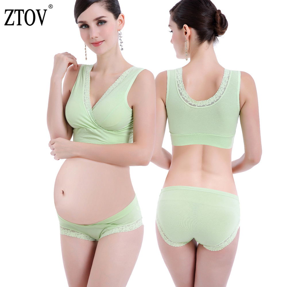 feef993a87a88 ZTOV Cotton Maternity Nursing bra+panties Breastfeeding bra set for pregnant  women Lace feeding Bra Pregnancy underwear clothes
