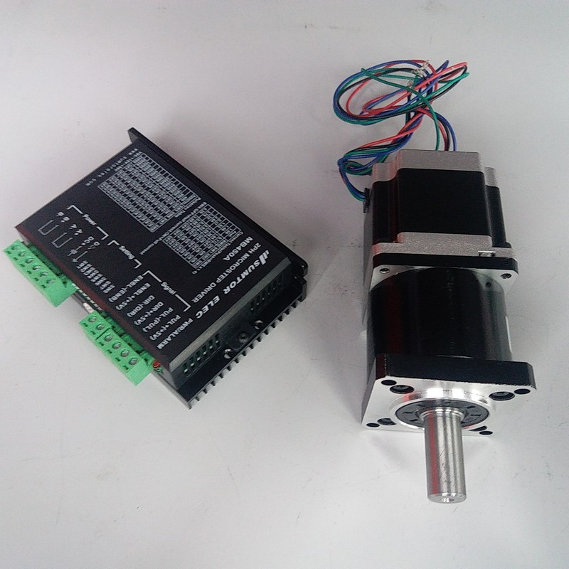 NEMA23 Ratio 50:1  Motor 84mm 2.2NM 320Oz-in 3A 4 Wires driver kits stepper motor with Planetary gearbox Speed  reducer for CNCNEMA23 Ratio 50:1  Motor 84mm 2.2NM 320Oz-in 3A 4 Wires driver kits stepper motor with Planetary gearbox Speed  reducer for CNC