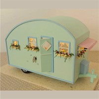 Dollhouse Miniature Wooden Assembled With Voice Activated Light Music Handmade Kits Building Model Travel Caravan Girls