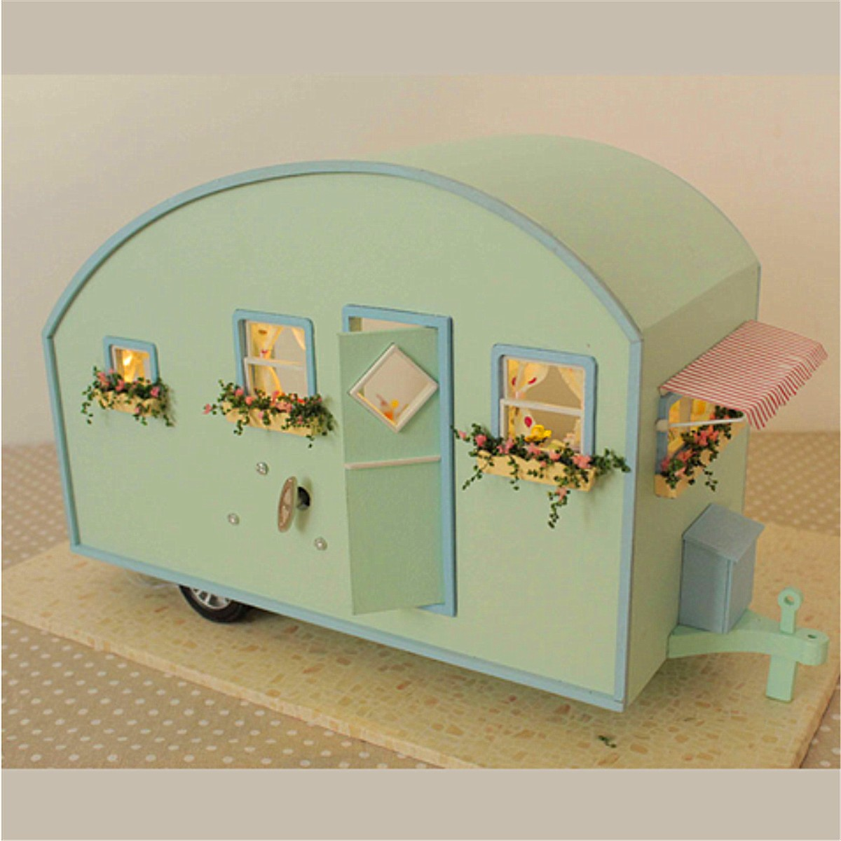 Dollhouse Miniature Wooden Assembled With Voice-activated Light Music Handmade kits Building model Travel Caravan Girls Gift cuteroom diy model dollhouse miniature voice activated led light box theatre gift for birthday valen