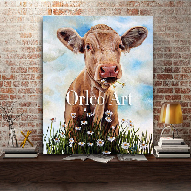 Hand Painted Animals Cow Oil Painting On Canvas Abstract Color Wall Art For Living Room