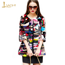 LVCHI Colorful Fashion Open Stitch Mink Fur Coats 2017 Winter Warm Fur O Collar Full Pelt Ladies Street Mink Fox Coat Plus Size
