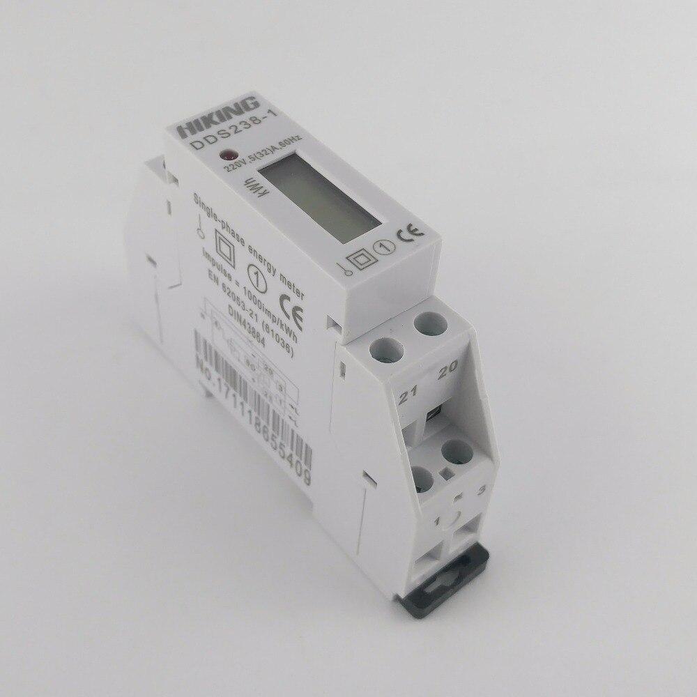 5(32)A 220V 60HZ Single phase Din rail KWH Watt hour din-rail energy meter LCD