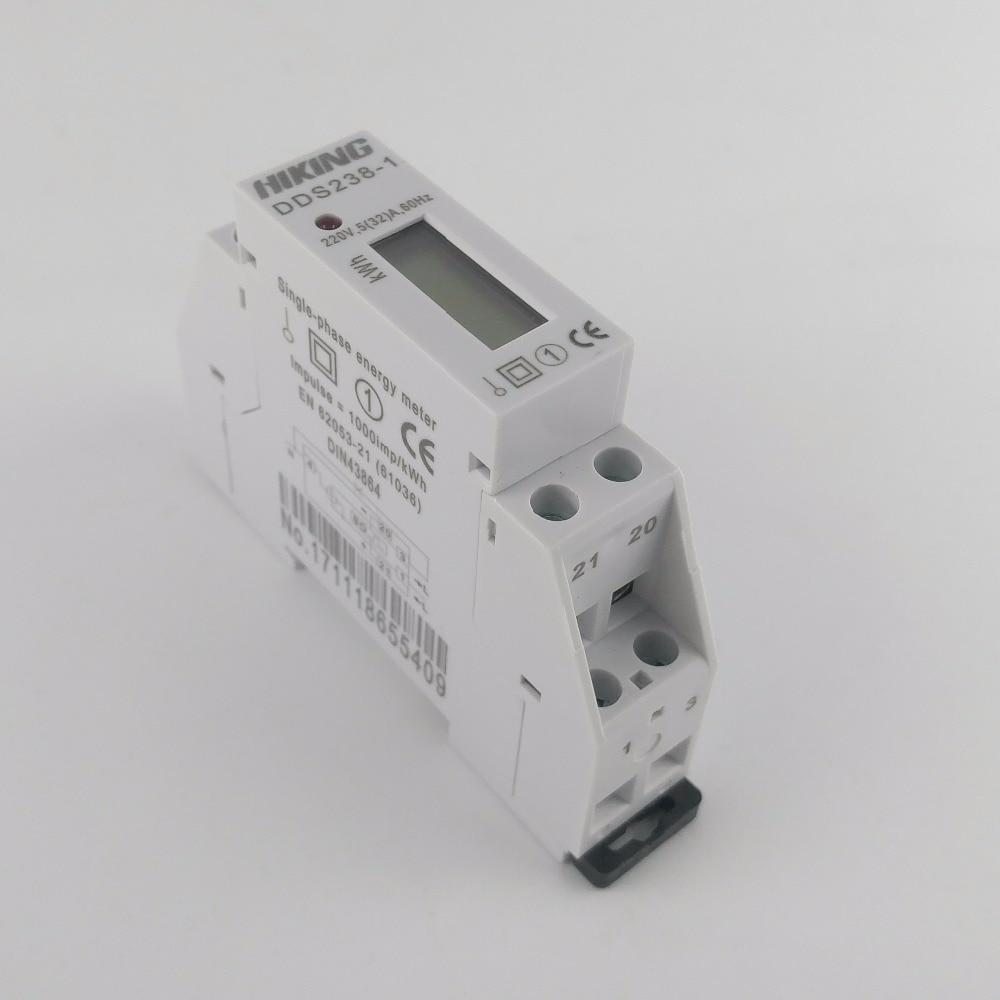 5(32)A 220V 60HZ Single phase Din rail KWH Watt hour din-rail energy meter LCD цена