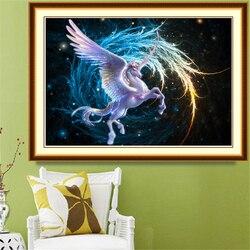 Dessin animé volant licorne fantaisie 5D bricolage diamant peinture pleine ronde broderie diamant mosaïque vente maison mur décor spécial cadeau