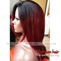 Wholesale Cheap Synthetic Lace Front Wig Natural Straight Hair Black Ombre Red Wig Half Handmade Long Straight Hair for Women
