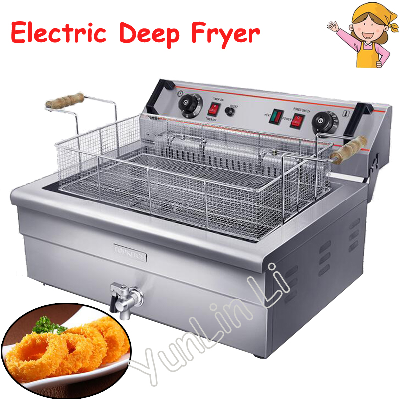 20L Electric Fryer Commercial Single-tank Fryer Electrical Frying Oven Commercial French Fries Frying Machine EF-201S