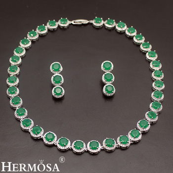 5 Colors Choice Charms Jewelry Sets SapphireRubyEmearldTopaz 925 Sterling Silver Choker Necklace Earrings Set Green Blue Red