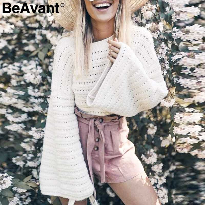 BeAvant Flare sleeve white knitted sweater female Hollow out women pullover sweater Casual winter sweater jumpers pull femme