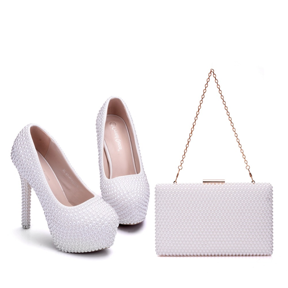 Crystal Queen New White Pearl Wedding Shoes With Matching Bags Women High heel Platrorm Shoes Woman High Pumps 14CM Heels crystal queen sandals 14cm high heels women pumps sexy style buckle strap white lace pearl tassel fower wedding shoes summer