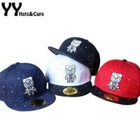 Summer Sun Hat For Kids Flat Baseball Caps Cotton Bear Embroidery Snapback Cap Boys Hip Hop