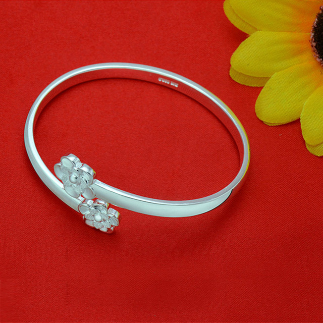 2016 Brand New Silver Bangles Women Classic Handmade Plum Cuff Bracelets Fine Jewelry Gift