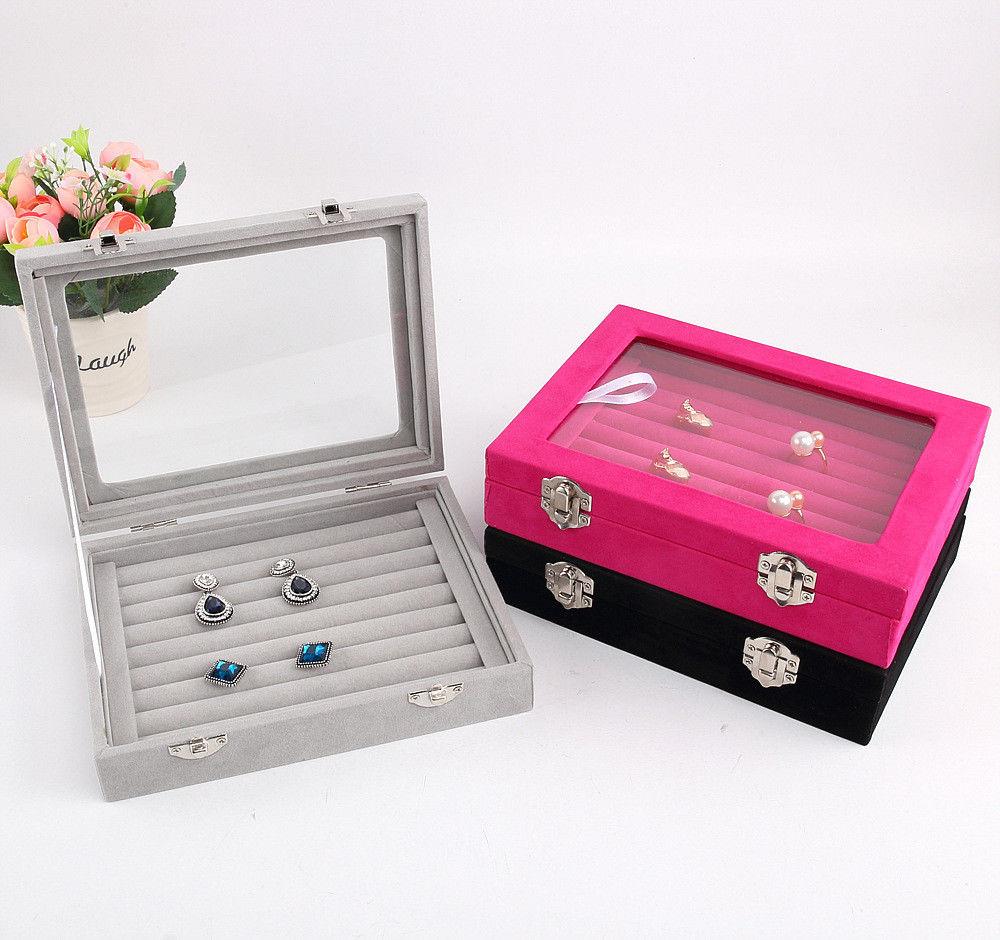 Jewelry Display Casket / Jewelry Storage Organizer Earrings Ring Box  Case For Jewlery Gift Box Jewelry Box Free Shipping
