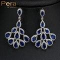 Luxo Mulheres Do Partido Acessórios Jóias Real Big Dangle Azul Cubic Zironia Cristal Longo Gota Brincos Com Platinadas E196