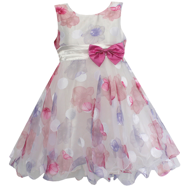 6470d3ae854c New Girls Dress Beautiful Flower Bow Tulle Party Pageant Wedding ...