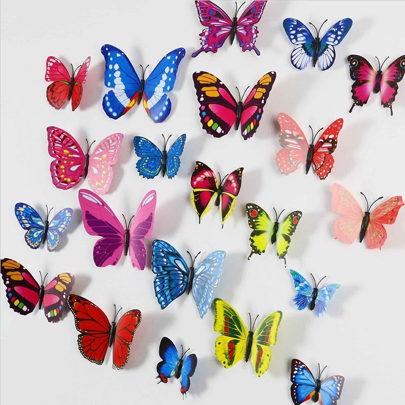 12 pieces lot pvc 3d butterfly wall decor cute butterflies for Decoration murale papillon 3d