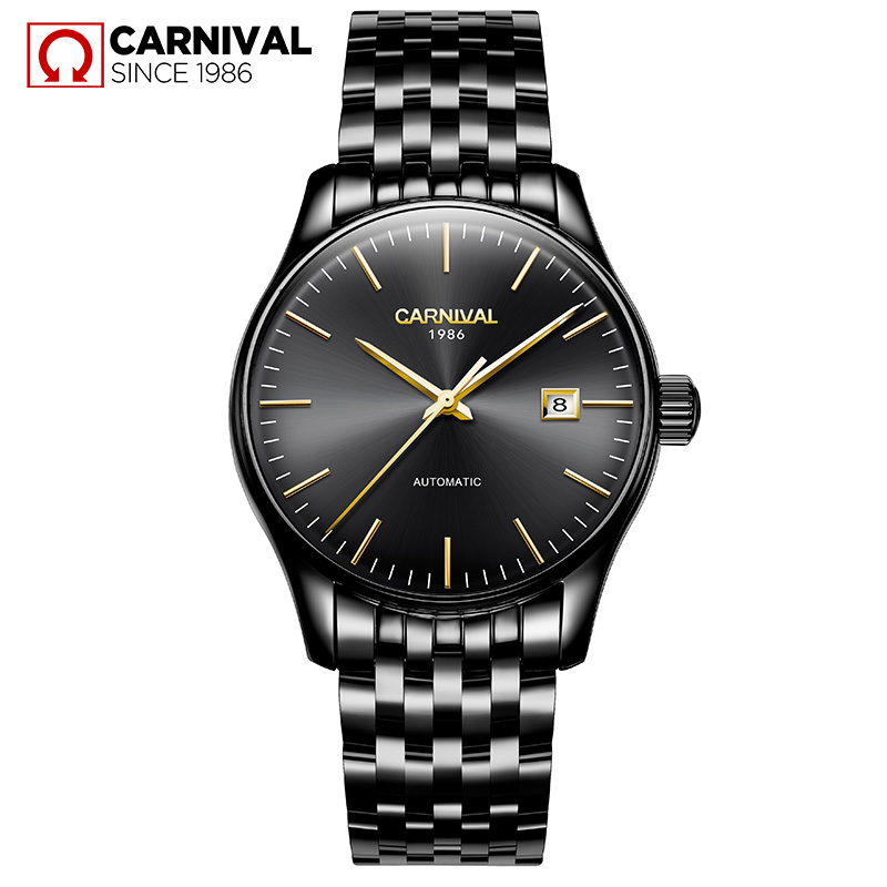 Carnival Business Black Watch Men Automatic Mechanical Wristwatches Stainless Steel Waterproof Watches Male Clock reloj hombre business men mechanical wrist watches automatic self wind stainless steel power watch for male reloj hombre silver with gold