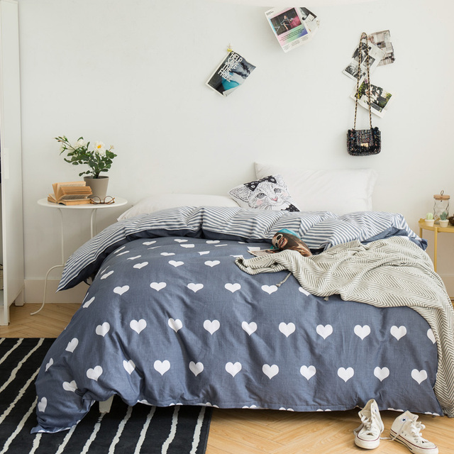 Домашний текстиль серый сердце одеяло крышка star 200*230 королева пододеяльник 100% хлопок человек Одеяло Ткань doona edredon casal 1 шт.